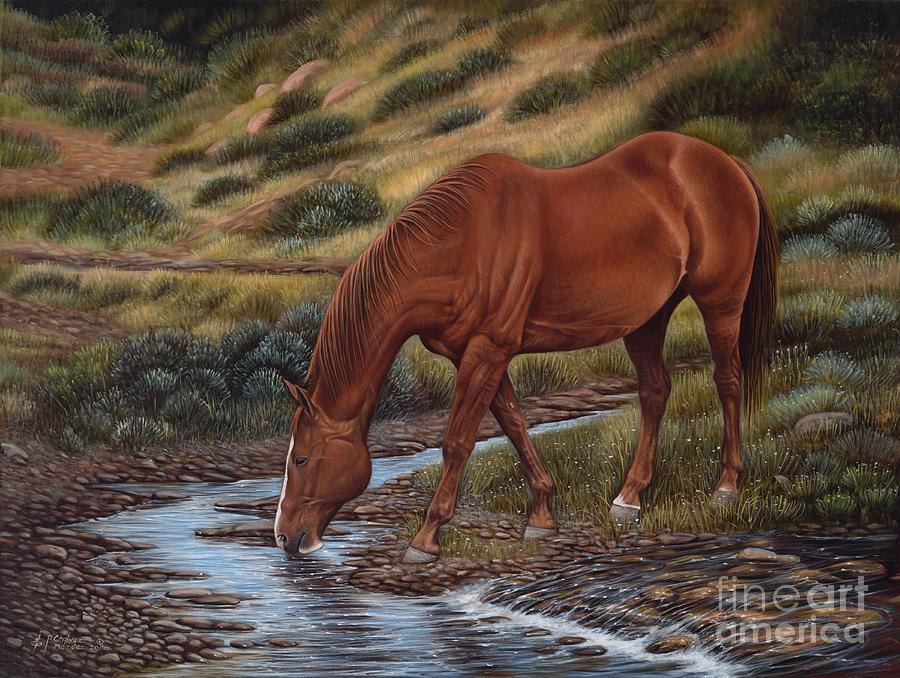 Horses Painting - Goodol Red by Ricardo Chavez-Mendez