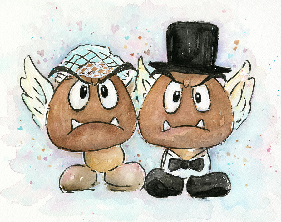 Goombas Painting - Goomba Bride And Groom by Olga Shvartsur