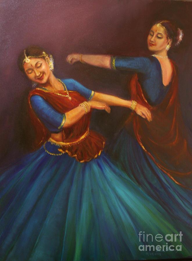 Kathak Dancers Painting - Gopis Dancing To The Flute Of Krishna by Asha Sudhaker Shenoy