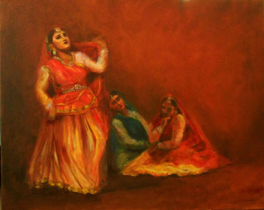 Kathak Dancers Painting - Gopis Distressed As Krishna Is Not Seen by Asha Sudhaker Shenoy