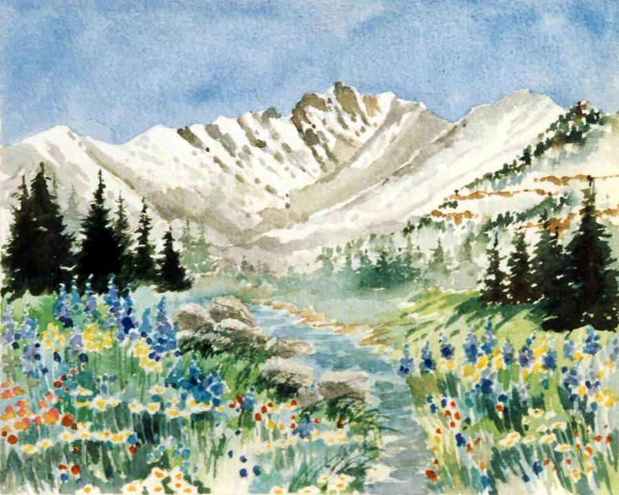 Gore Range Painting - Gore Range 2 by Patty  Frierson
