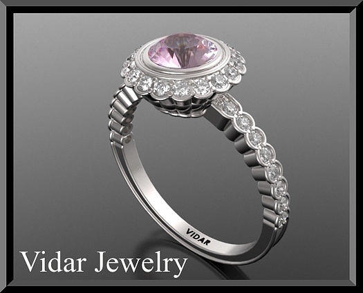 Gemstone Jewelry - Gorgeous Pink Sapphire And Diamond 14k White Gold Engagement Ring by Roi Avidar