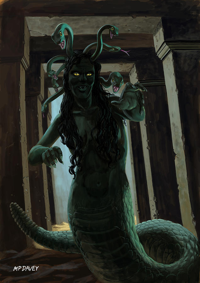 Gorgon Medusa Painting by Martin Davey