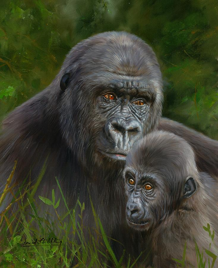 Gorilla And Baby Painting