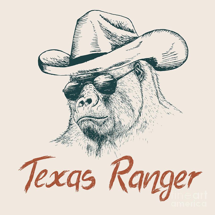 Dress Digital Art - Gorilla Like A Texas Ranger Dressed In by Dimonika