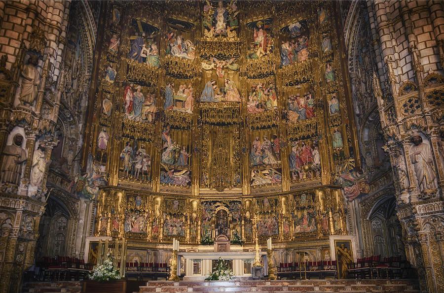 Toledo Photograph - Gothic Altar Screen by Joan Carroll