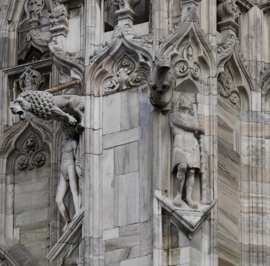 Milan Gothic Cathedral Statues And Lion Gargoyle Photograph By