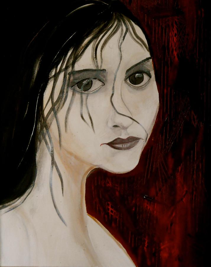 Portrait Painting Painting - Gothic Portrait Of Woman Painting by Laura Carter