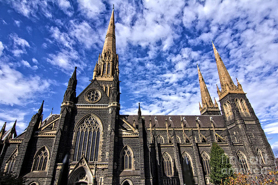 St Patrick's Cathedral Photograph - Gothic Revival Style St Patricks Cathedral In Melbourne by Beverly Claire Kaiya