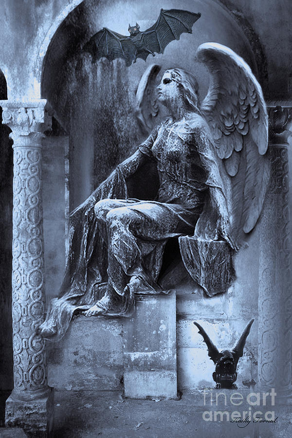 Gothic Surreal Cemetery Angel With Gargoyle And Bats