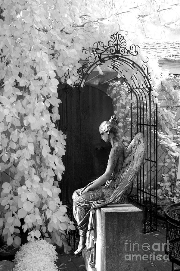 Gothic angel photograph gothic surreal black and white infrared angel statue sitting in mourning sadness