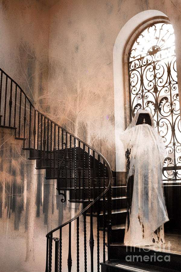 Grim Reaper Photograph - Gothic Surreal Spooky Grim Reaper On Steps by Kathy Fornal