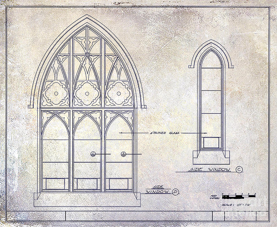 vintage window drawing. vintage architectural drawings drawing - gothic window detail by jon neidert n
