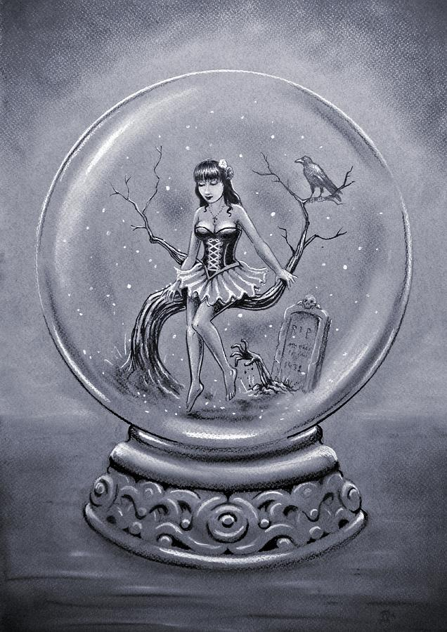 gothic snow globe drawing by frank franklin. Black Bedroom Furniture Sets. Home Design Ideas