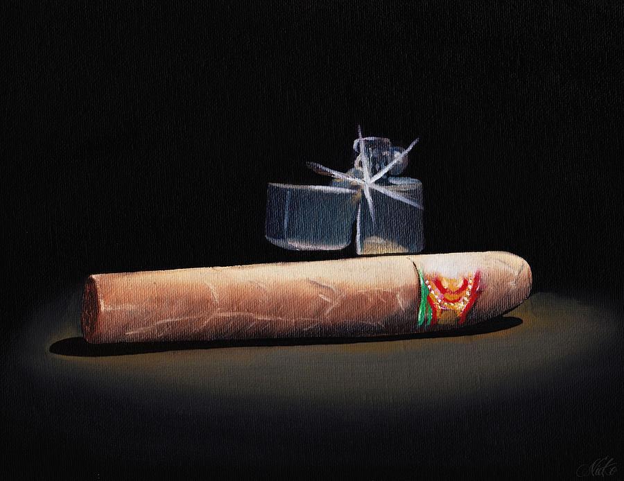 Cigar Painting - Gotta Light by Nicko Gutierrez