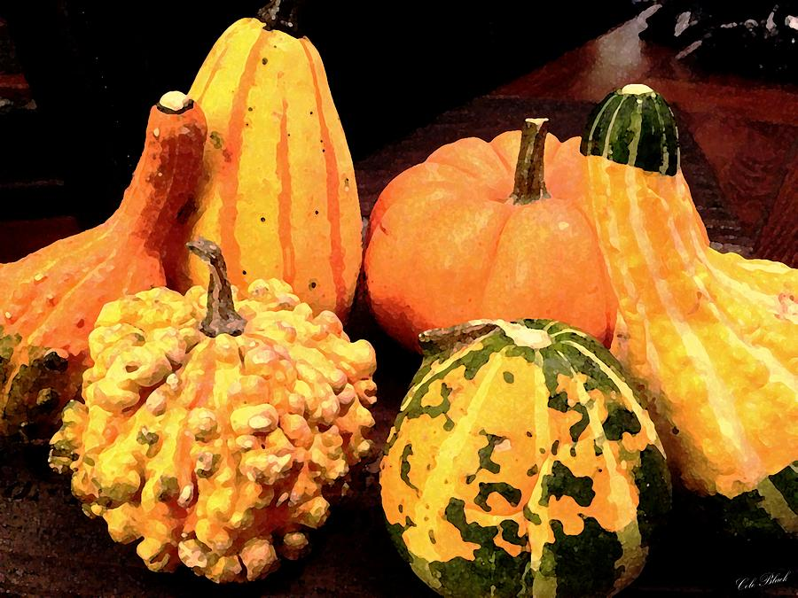 Yellow Painting - Gourds by Cole Black