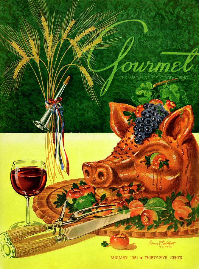 Gourmet Cover Featuring A Pigs Head On A Platter Photograph by Henry Stahlhut