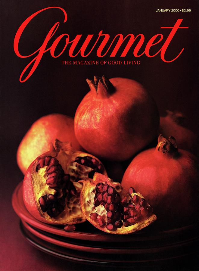Gourmet Cover Featuring A Plate Of Pomegranates Photograph by Romulo Yanes