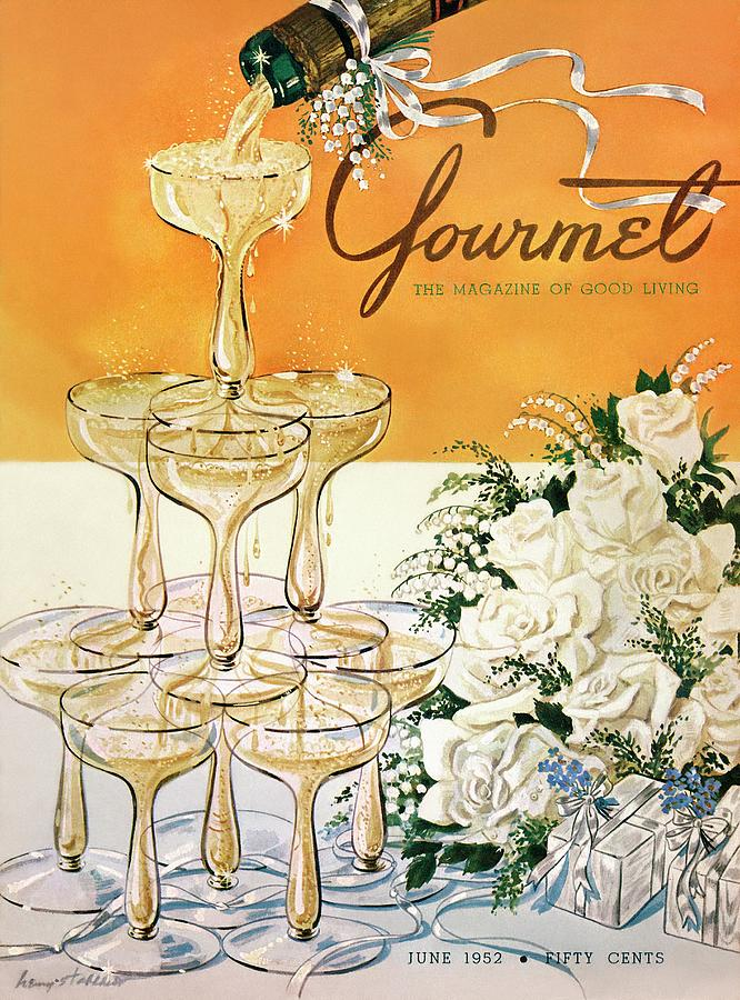 Gourmet Cover Featuring A Pyramid Of Champagne Photograph by Henry Stahlhut