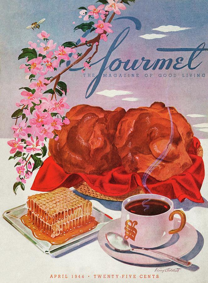 Gourmet Cover Illustration Of A Basket Of Popovers Photograph by Henry Stahlhut