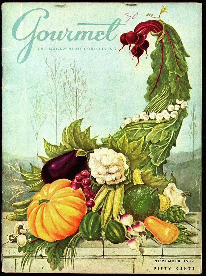 Gourmet Cover Illustration Of A Cornucopia Photograph by Hilary Knight