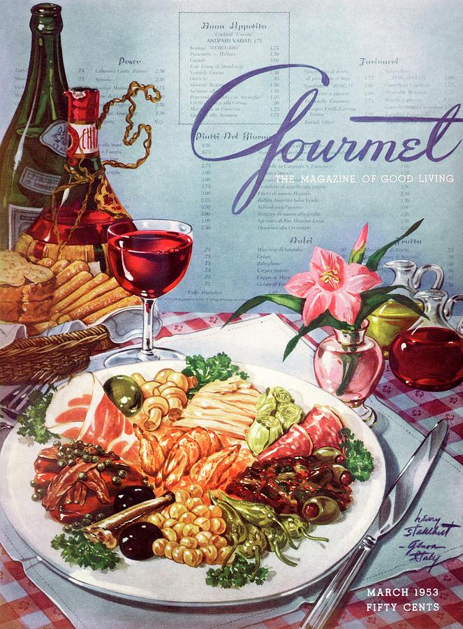 Gourmet Cover Illustration Of A Plate Of Antipasto Photograph by Henry Stahlhut
