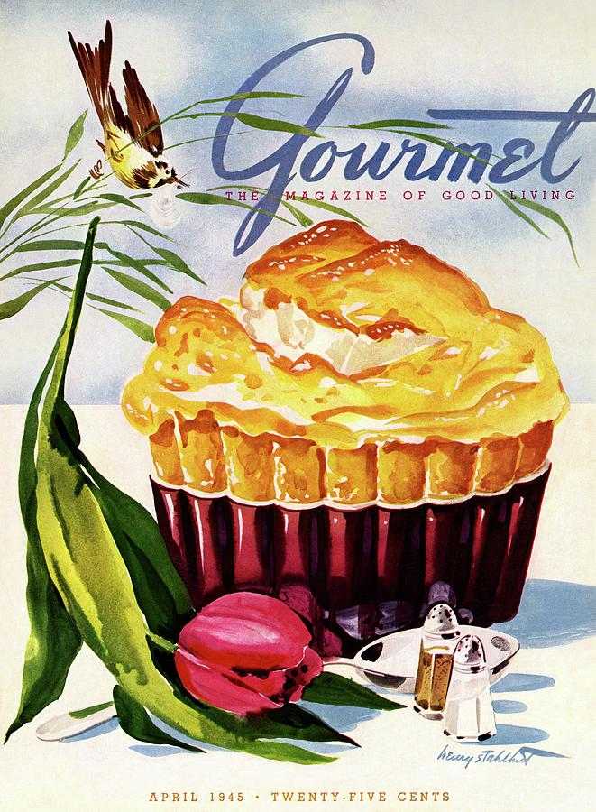 Gourmet Cover Illustration Of A Souffle And Tulip Photograph by Henry Stahlhut