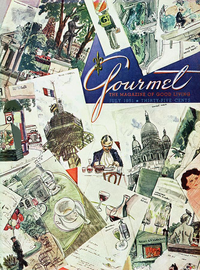 Gourmet Cover Illustration Of Drawings Portraying Photograph by Henry Stahlhut