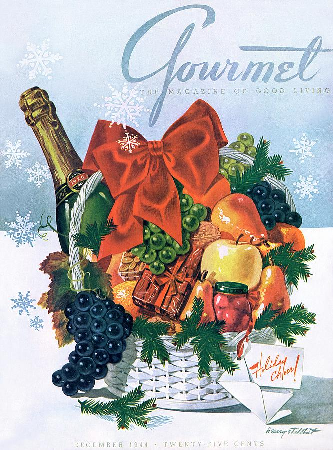 Gourmet Cover Illustration Of Holiday Fruit Basket Photograph by Henry Stahlhut