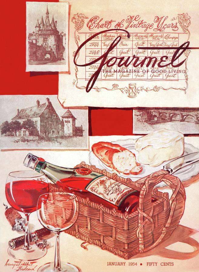 Gourmet Cover Of A Bottle Of Bordeaux Painting by Henry Stahlhut