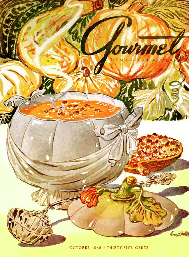 Gourmet Cover Of Pumpkin Soup Photograph by Henry Stahlhut