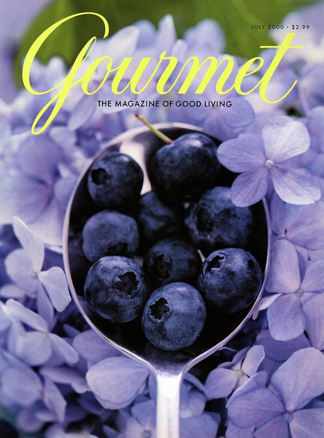 Gourmet Magazine Cover Blueberries On Silver Spoon Photograph by Jim Franco