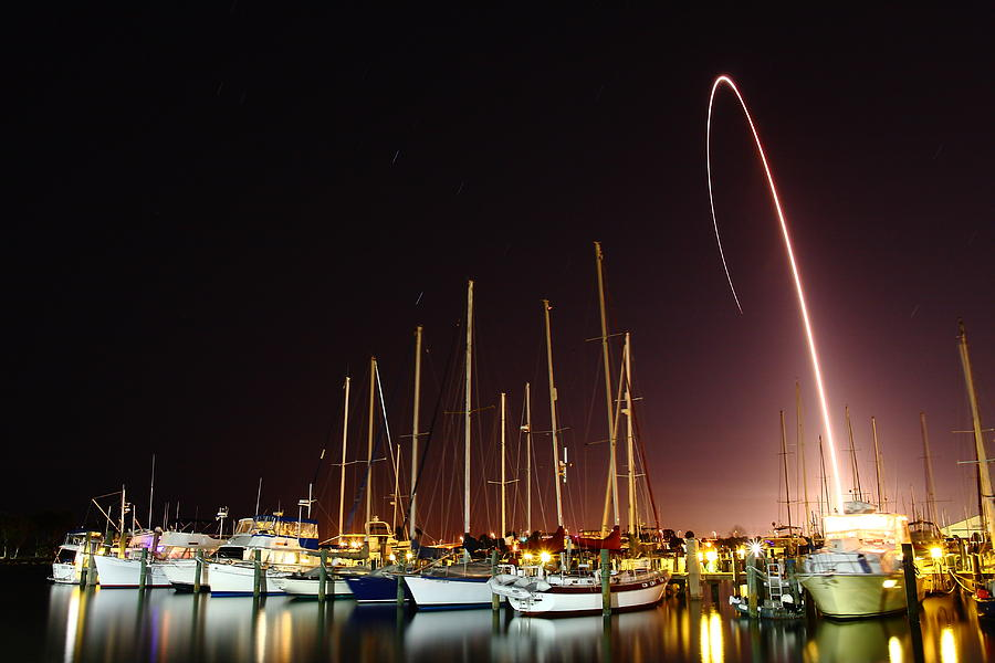 Rocket Photograph - Gps Launch Over The Marina by John Moss
