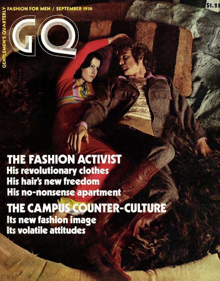 Gq Cover Featuring A Couple Resting On A Rug Photograph by Peter Levy
