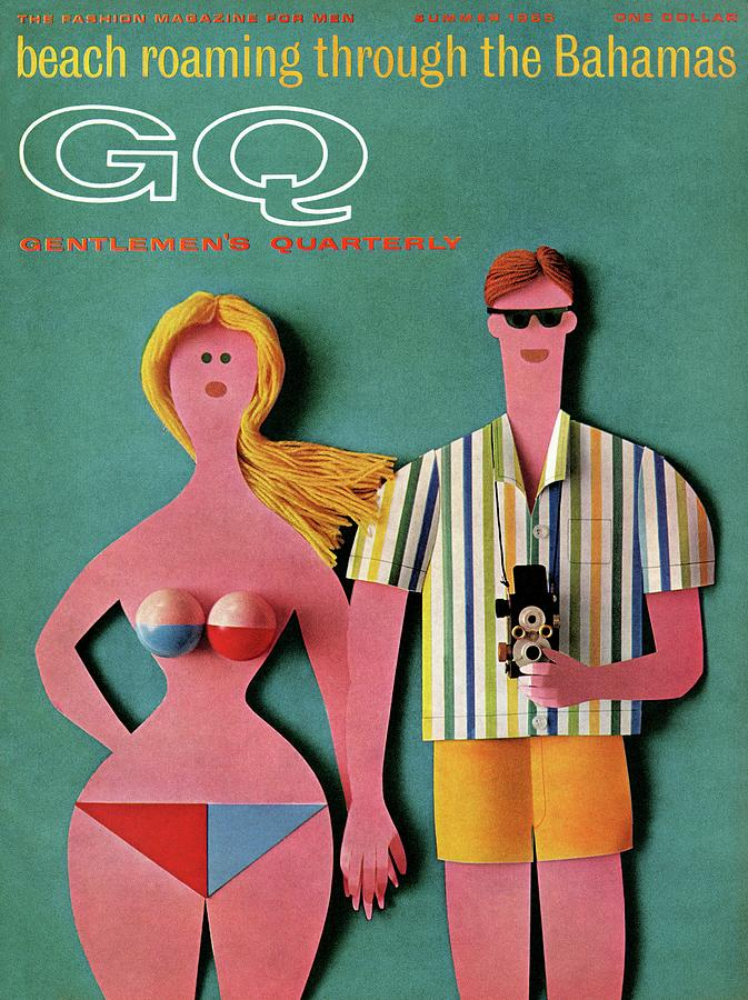Gq Cover Featuring A Paper Cut Out Couple Photograph by Robert Jackson