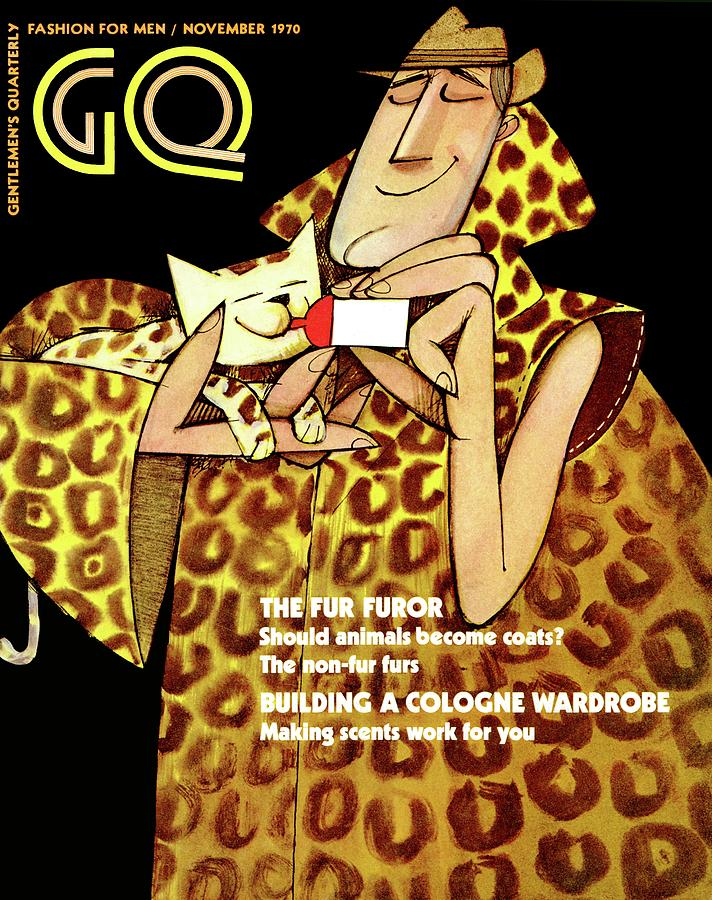 Gq Cover Of An Illustration Of A Man In Fur Coat Photograph by Ziraldo Alves Pinto