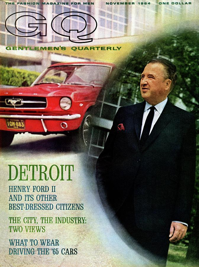 Gq Cover Of Henry Ford II And 1965 Ford Mustang Photograph by Richard Nones