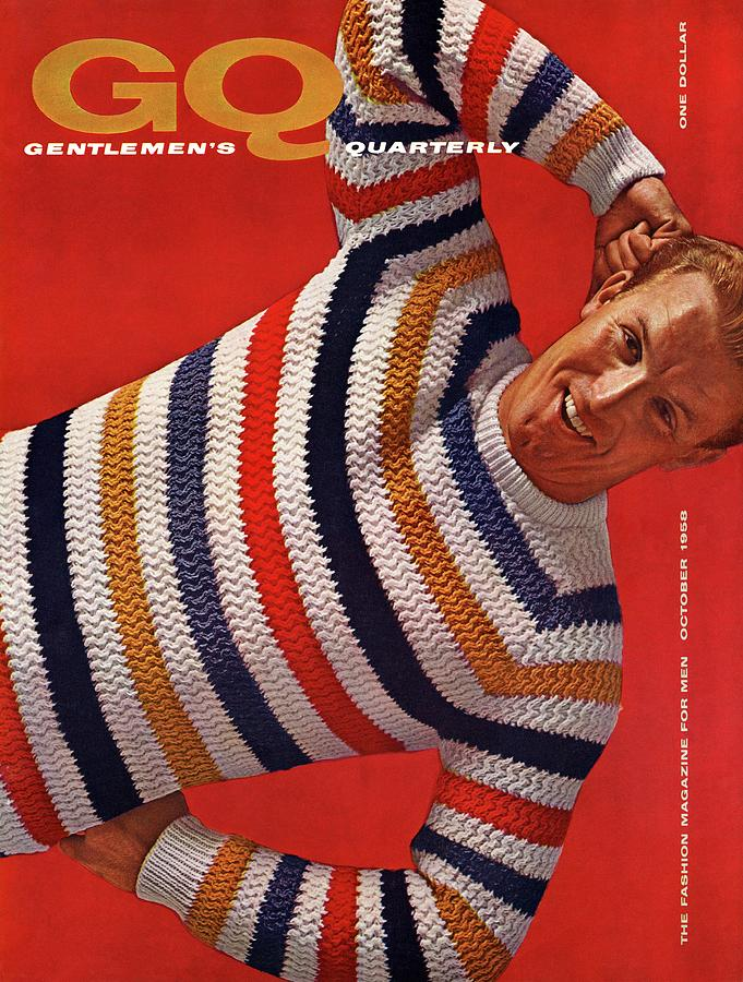 Gq Cover Of Man Wearing Striped Sweater Photograph by Leonard Nones