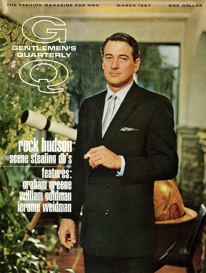 Gq Cover Of Rock Hudson Wearing A Suit Photograph by John Bryson