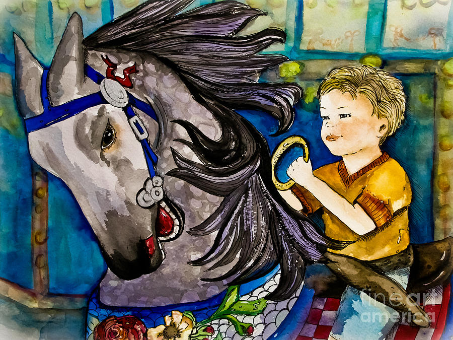 Child Painting - Grab The Brass Ring by Colleen Kammerer