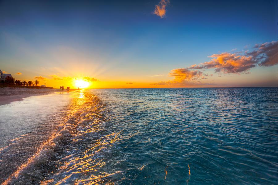 Caribbean Photograph - Grace Bay Beach Sunset by Jo Ann Snover