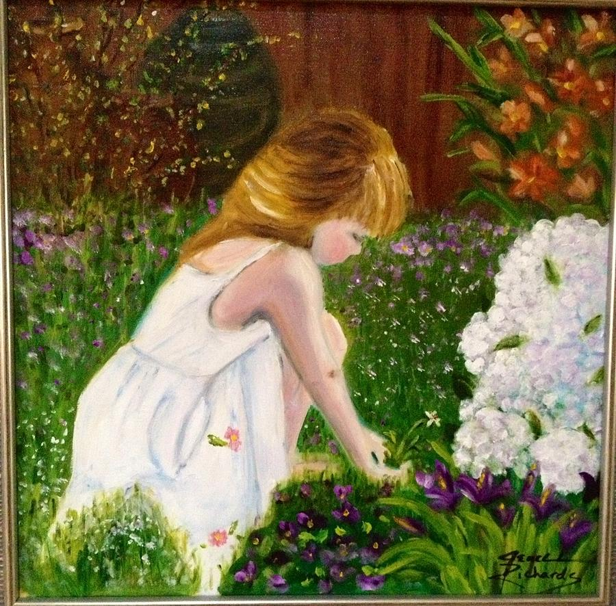 Nature Painting - Grace in the garden by Jenell Richards
