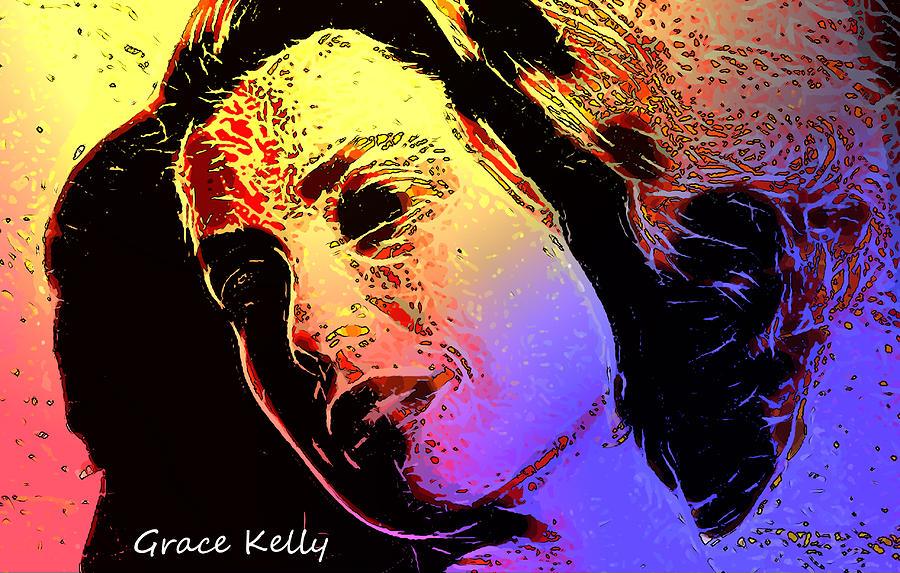 Shinning Through Love Loves Grace Kelly Pop Art Modern Painting Famous Actress Face Princess Queen Monaco Star Beauty Portrait Digital Art Gracia Digital Art - Grace by Steve K