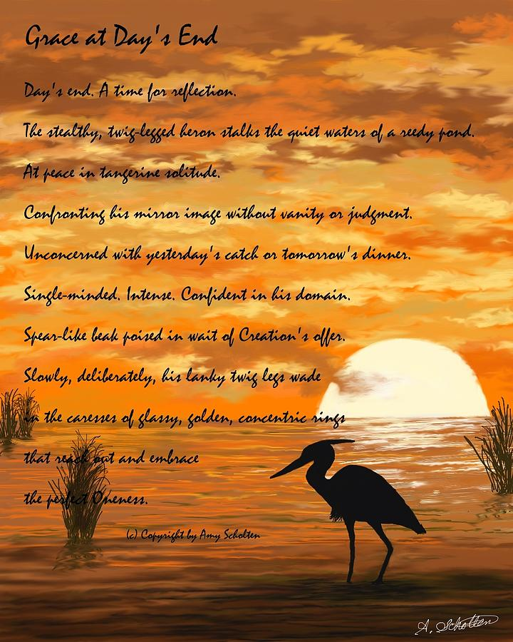 Sunset Lake Painting - Grace With A Poem by Amy Scholten