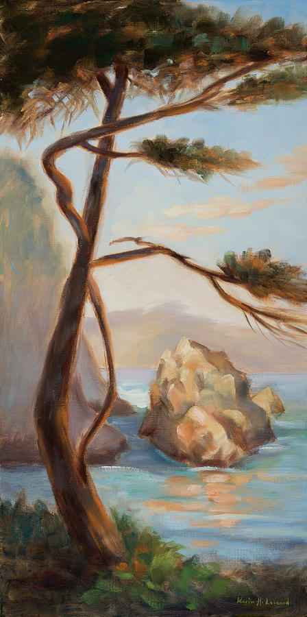Point Lobos Painting - Graceful Pine In Afternoon Light At Point Lobos by Karin  Leonard