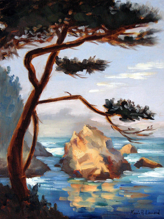 Sunset Ocean Painting - Graceful Pine Pt. Lobos by Karin  Leonard