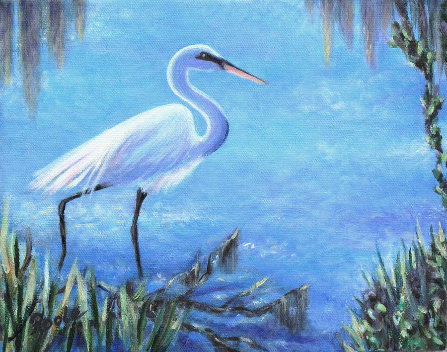 Egret Painting - Graceful Stroll At Magnolia Gardens by Pamela Poole