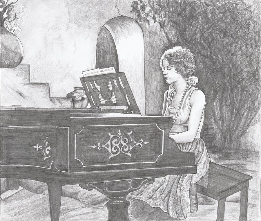 Piano Painting - Graces Escape by Beverly Marshall