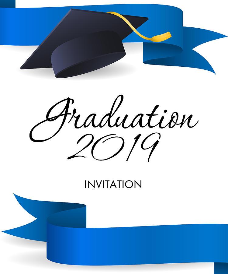 Graduation 2019 Invitation Design  Blue Ribbons, Graduation Cap by  PCH-Vector