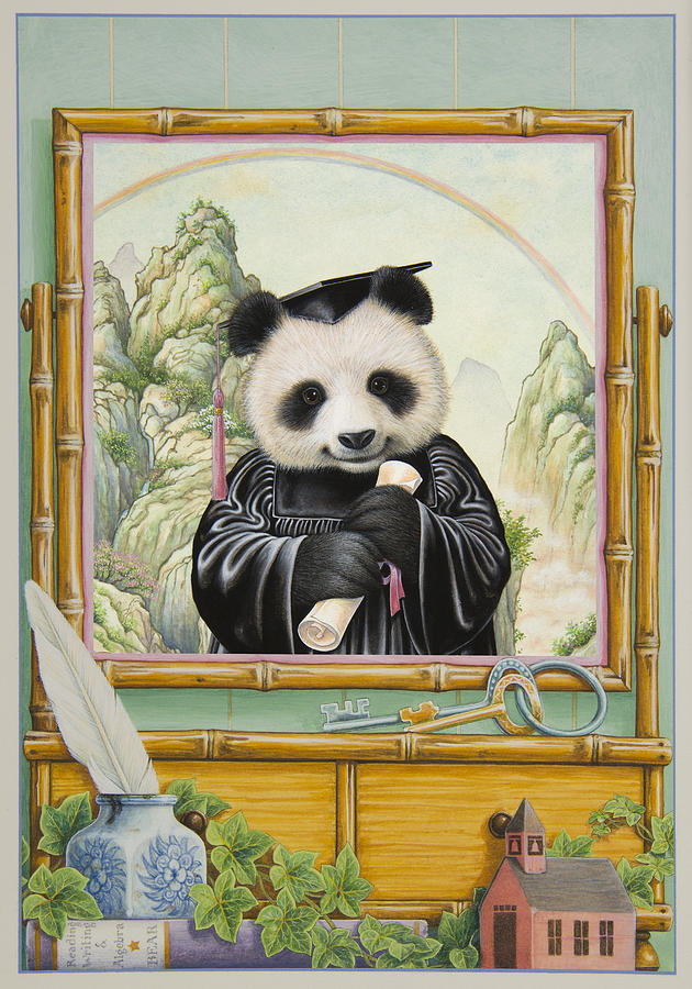 Panda Bear Painting - Graduation Day by Lynn Bywaters